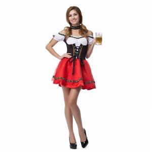 German Bavarian Beer Maid Costume Women's Oktoberfest Dirndl Dress