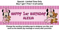 1st Birthday Banner, Sign, Poster, Decoration _ PINK BABY MINNIE MOUSE & TEDDY