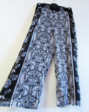 City Chic Size 20 Black Grey Floral Print Lined Chiffon Pull On Palazzo Pants