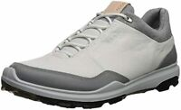 ECCO Men's Biom Hybrid 3 Gore-Tex Golf Shoe, White/Black Yak Leather, 41 M EU