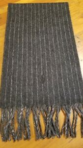 POLO RALPH LAUREN MEN'S TWO SIDED GRAY CHALK STRIPE SCARF  NWT