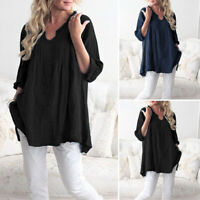 VONDA 8-24 Women Plus Size Casual Top Ladies Autumn Loose Baggy Shirt Pullover