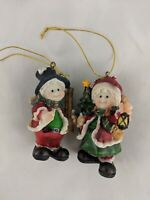 Santa and Mrs Claus Snowman Christmas Ornaments 3.5""