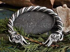 VIKINGS Nidhogg Dragon Heads Bracelet Silver Torque Celtic Bangle Norse Asatru