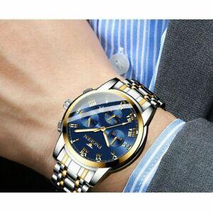 Mens Watches Fashion Analog Quartz Watch Calendar Stainless Steel Wristwatch UK