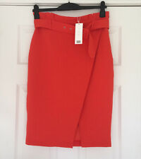 New Vince Orange Red Pencil Work Bright sexy  Midi Pencil Skirt Size XS 6 4