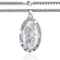 """Mens 20"""" 24"""" 30"""" Silver Link Chain Necklace With St Saint Christopher Pendant"""