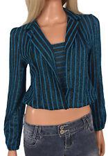 Vtg 70s 80s Disco Crop Top Metallic Lurex Blue Black Stripes Midriff Half Belly