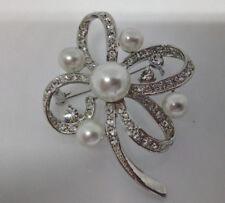 """diamante /'broche mariposa /""""en oro antiguo metal 65m Vintage perlas de"""