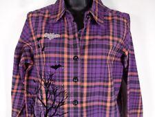 Womens Halloween Shirt Size Small Krazy Kats Jeweled Bat Purple Orange Plaid