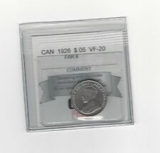 **1926 Far 6**, Coin Mart Graded Canadian, Five Cent, **VF-20**