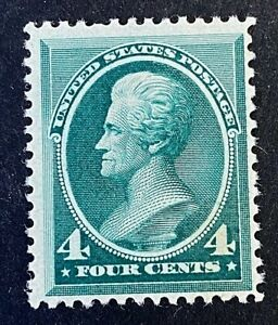 US Stamps, Scott #211 4c 1883 Andrew Jackson F/VF M/NH Fresh. Vivid blue green.