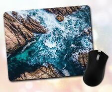 Nature ~ Ocean, Waves, Rocks, Blue Water, Scenic, Gift, Decor ~ Vivid Mouse Pad