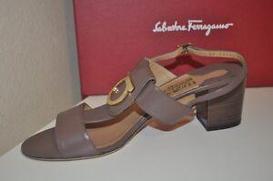NIB Salvatore Ferragamo Deep Taupe Leather Logo ROVENA Sandal Block Heel Shoe 10
