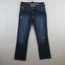 Gap Women's Jeans 6A Curvy Straight Stretch Dark Wash Distressed Denim 29x29