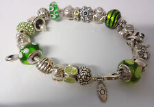 Authentic Pandora Sterling Silver 22 Charms Buddha Girl Cat Owl Peridot Bracelet