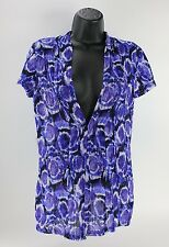 Slinky Fitted Purple White Womens Deep V Neck Blouse Top Shirt Career Work
