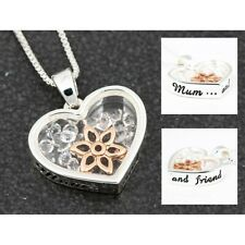Equilibrium Mum & Friend Floating Crystals Heart Flower Necklace New and Boxed