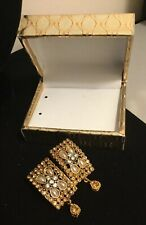 Ghazi's Imitated Indian Antique Gold Kundan Jhumka Earrings In Gift Box