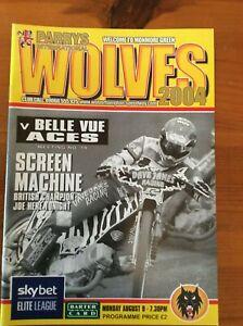 2004 WOLVERHAMPTON v BELLE VUE 9th AUGUST      ( GOOD CONDITION )