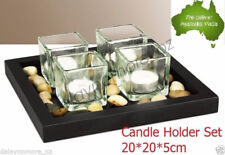 Glass TeaLight Candle Holder Set with Stone wedding Party Tea Light Black VIC