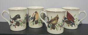 Set of 4 Lenox Winter Greetings Mugs~ 2 Cardinal & 2 Cedar Waxwing and Junco