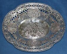 Huge Antique German 800 Silver Cherub Angel Reticulated Centerpiece 530 GRM Bowl