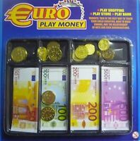 Euro Play Money Kids Shop Bank Fake Children Role Play Coins Notes Paper Plastic