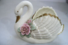 Vintage Large Candy Dish Cookie Jar Swan Planter Figurine With Pink Rose Flowers