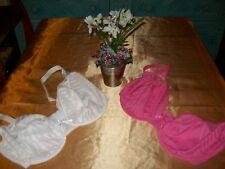 Per Una Pink/white self stripe underwired plunge 2 part bra set 34F