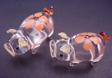 2 Tiny Floral Glass PIGS Painted Glass Animal Glass Ornament Miniatures Gift
