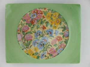 Vintage Green Floral Chintz Royal Staffordshire Plate The Biarritz Clarice Cliff