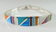 ".950 silver multi-colored opal bracelet with long curved centerpiece 8"" long"