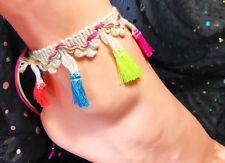 Ties Any Adult Size Australia Made Anklet Gypsy Festival Fluoro Tassels Macrame