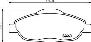 Hella Pagid Front Brake Pads - DB2119H fits Peugeot 3008 T8 1.6 HDi