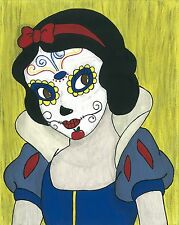 Snow White Day of the Dead print 8X10, Comic character and Pop Art