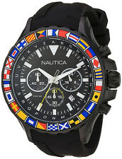 Nautica Men's NST1000 Chrono 100m Black Stainless Steel Silicone Watch NAD21011G