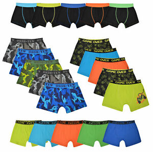Boys 5 Pack Boxers Trunks Underwear Camo Gaming Design Coloured Size 2-13