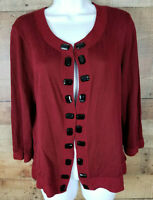 Emma James Sweater Dark Red Holiday Buttoned Cardigan Soft Cotton Blouse Size XL