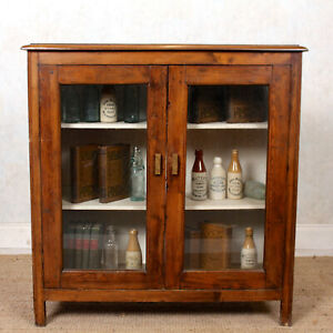 Antique Edwardian Glazed Bookcase Pine Glass Display Cabinet