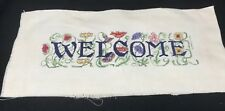 Handmade Welcome Cross Stitch Finished Embroidery Spring Home Decor 17 x 8