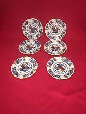 Staffordshire Ironstone China Masons Style War Bonnet Small Plates 1850 Set 6