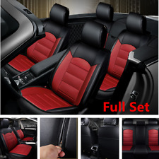Black/Red Full Set 5-Seat Car Seat Cover Breathable PU Leather Cushion Protector