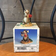 """Fitz and Floyd Charming Tails """"Give Love A Shot"""" 84/109 Slingshot Mouse"""