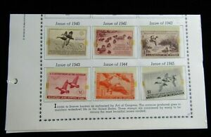 RW7-RW12 6 Stamp Collection of Migratory Duck Stamps Used