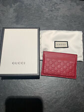 GUCCI Embossed Signature Red leather cardholder Wallet Guccissima RRP £200