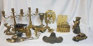 Joli lot de brocante: laiton argent étain bronze / chandelier encrier clochette
