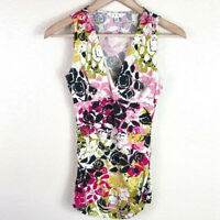 CAbi Women's XS Extra Small #404 Pink Green Black Floral Crossover Stretch Top