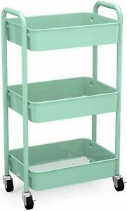 CAXXA 3-Tier Rolling Metal Storage Organizer - Mobile Utility Cart, Kitchen Cart