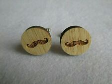 Wood Circle Cufflinks Mustache Design with silver back BRAND NEW ITEM